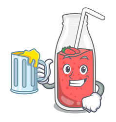 with juice strawberry smoothie mascot cartoon vector image