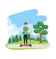 Young man in folding scooter on landscape vector