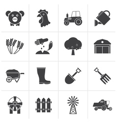 Black Agriculture and farming icons vector image vector image