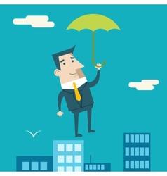 Businessman Cartoon Character with Umbrella vector image vector image