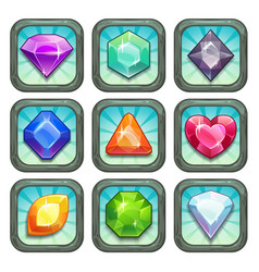 Cartoon gems and diamonds app icons set vector image