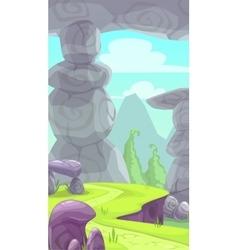 Cartoon rocky prehistoric landscape vector image vector image