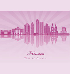 houston v2 skyline in purple radiant orchid vector image vector image