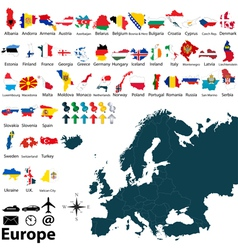 Maps with flags of Europe vector image