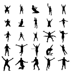 Winner man silhouette set vector image