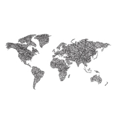 World map with lines vector image