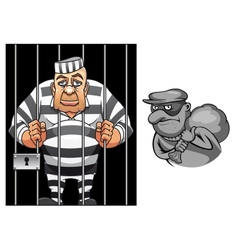 Cartoon prisoner in jail and robber in mask vector image vector image