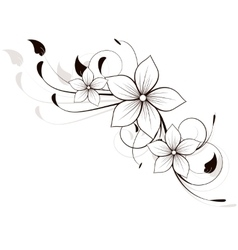 Floral spring element with swirls vector image