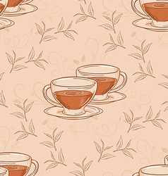 hand drawn seamless pattern with cup of tea and vector image