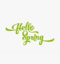 hello spring green stylized calligraphic vector image