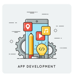mobile application development flat vector image vector image