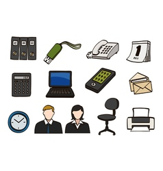 office doodle icon set vector image