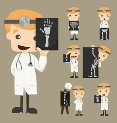 Set of doctor characters with x-ray ultrasound vector image