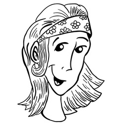 simple black and white girl vector image