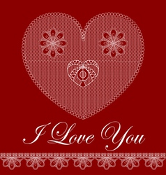 Valentine card with lace heart vector image vector image