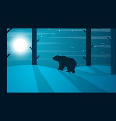 cartoon bear winter landscape tree vector image