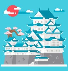 Flat design himeji castle japan vector