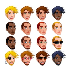 Male faces isolated characters vector image