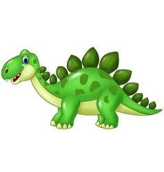 Cartoon funny Stegosaurus mascot isolated on white vector image vector image