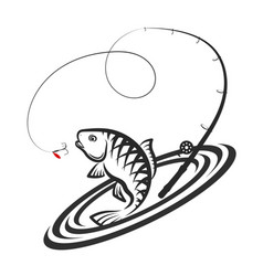 fish and fishing rod jumping silhouette vector image