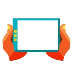 Hand touch screen on digital tablet vector