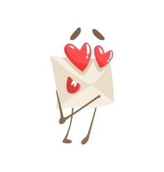 In Love Humanized Letter Paper Envelop Cartoon vector image vector image
