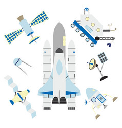 space elements in flat style - shuttle satellites vector image