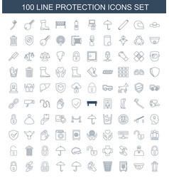 100 protection icons vector