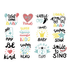 12 children logo with handwriting little one vector image
