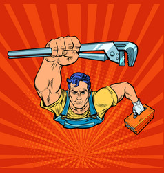 a repairman with an adjustable wrench vector image