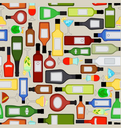 Alcohol bottles pattern vector