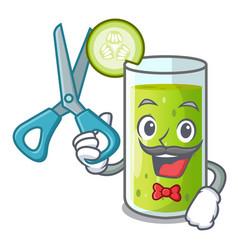 barber character fresh juice of green cucumber vector image