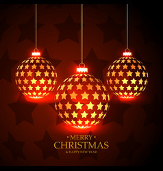 beautiful red background with hanging christmas vector image