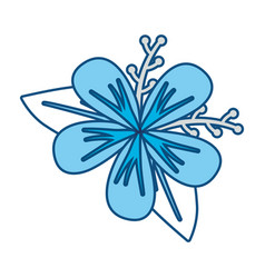 Blue flower with leaves desi vector