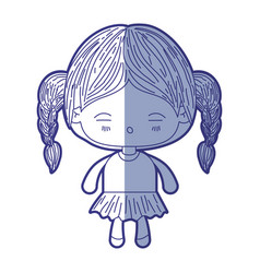 blue shading silhouette of kawaii little girl with vector image