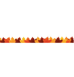 border of fallen autumn leaves isolated on white vector image