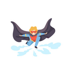 Boy wearing colorful superhero costume super vector