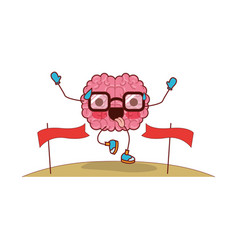 brain cartoon with glasses running and passing the vector image