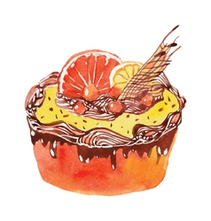 Cake with orange vector