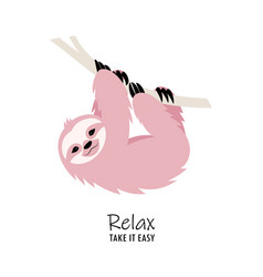 Card with cute sloth vector