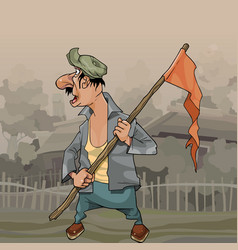cartoon man with flag on stick in village vector image
