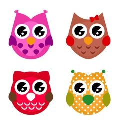 cartoon owls set isolated on white vector image