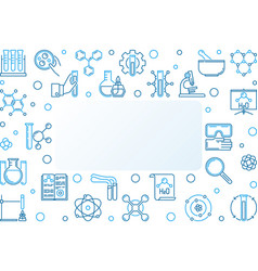 Chemistry blue horizontal frame in thin vector