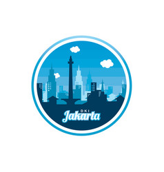 city of jakarta label badge sticker logo template vector image