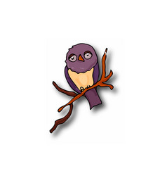 clipart doodle owl on a branch with a shadow vector image