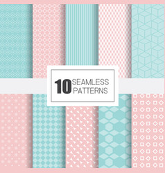 Collection of 10 seamless patterns with geometry vector