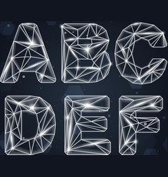 Constellation geometric font a-f vector
