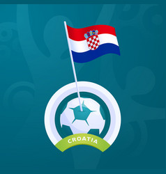 croatia flag pinned to a soccer ball european vector image
