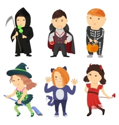 Cute cartoon kids in halloween costumes vector image