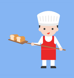 Cute pastry chef taking out with shovel freshly vector